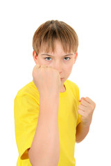 Kid threaten with a Fist
