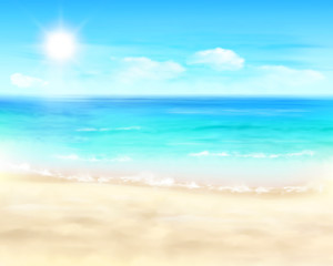 Sunny beach. Vector Illustration.