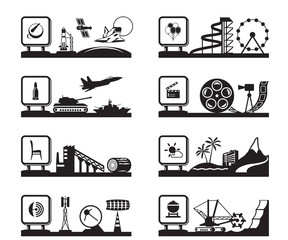 Various industries with logos - vector illustration