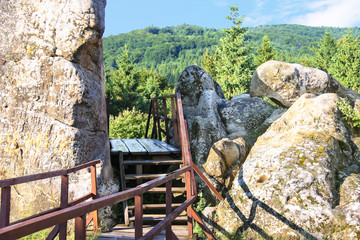 """Sunny day in the historical and cultural reserve """"Tustan"""". Ukrai"""