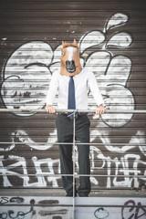 horse mask young handsome elegant blonde model man