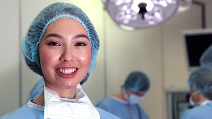 Surgical student smiling at camera