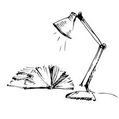 Open book and lamp sketch.