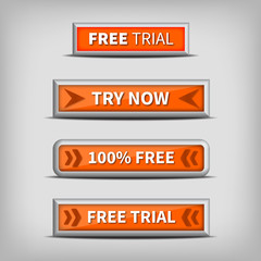 try now and free trial on 3d orange buttons