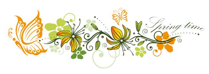 Frühling, Blumen, Schmetterling