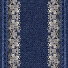 Denim texture with attached white lace ribbons.