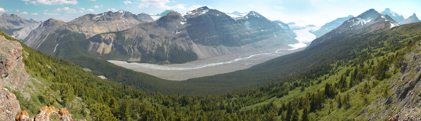 Canadian panoramic landscape with glacier. Icefields parkway. Al