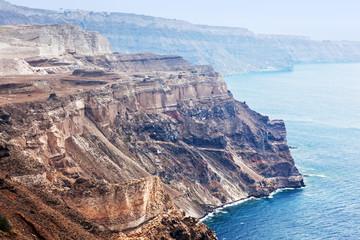 Cliff and volcanic rocks of Santorini island, Greece