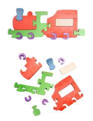 Wooden train puzzle