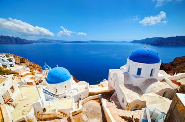 Oia town on Santorini island, Greece. Aegean sea