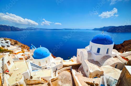 Oia town on Santorini island, Greece. Aegean sea - 75928586