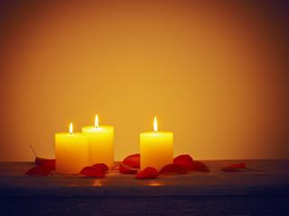 Kerze Blätter Holz