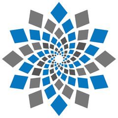 Abstract Squares Circular Element Blue Grey