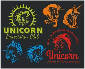 Vector set  - Unicorns and horses equestrian labels, badges