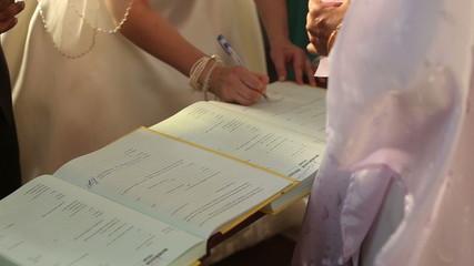 european bride in wedding dress sing in church book about marria