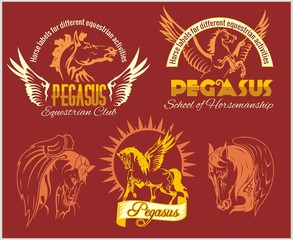 Pegasus and horses vintage labels, badges
