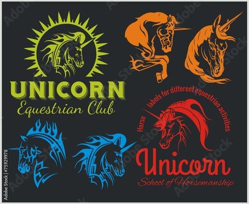 Fototapeta Vector set - Unicorns and horses equestrian labels, badges