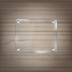 Rectangular glass frame on wooden background