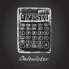 Vector illustration of a calculator. Sketch.