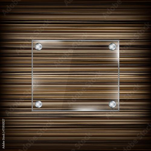 Rectangular glass frame on wooden background - 75930127