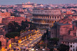 Cityscape of Rome at dusk