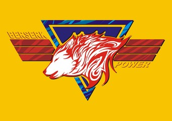 wolf flame logo tatoo with wing decorate for color screen
