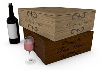 Cassetta di vini, bottiglia e bicchiere su sfondo bianco