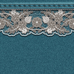 Denim texture with sewn white lace ribbon.
