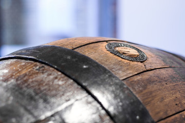 Close up of an old wooden barrel