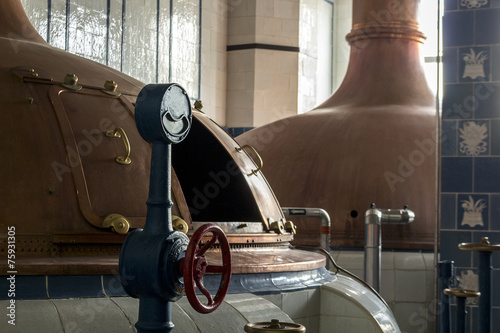 Beer brewery. Traditional way of making a beer. - 75931305