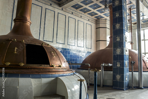 Beer brewery. Traditional way of making a beer. - 75931316