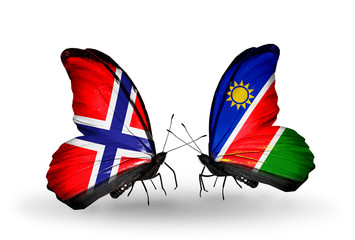 Two butterflies with flags Norway and Namibia
