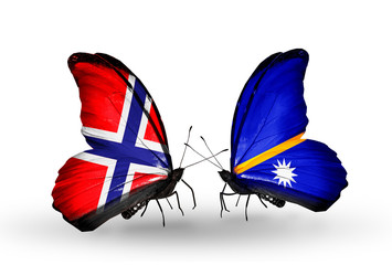 Two butterflies with flags Norway and Nauru