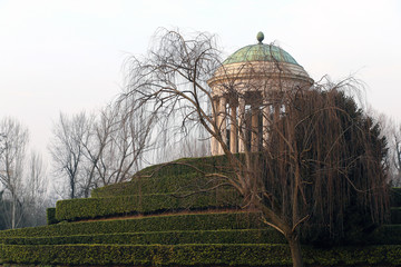 temple with a dome and columns in the City Park in vicenza