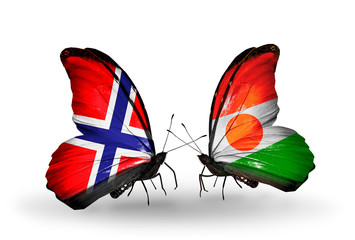 Two butterflies with flags Norway and  Niger