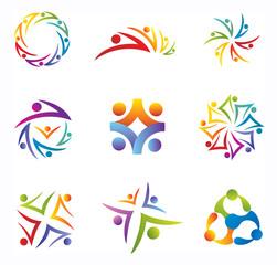 Ensemble d'Icones Gens Silhouettes Communauté Réseau pour Logos