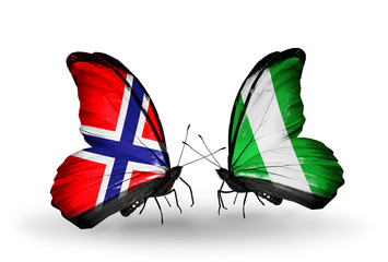Two butterflies with flags Norway and Nigeria
