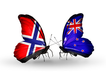 Two butterflies with flags Norway and New Zealand