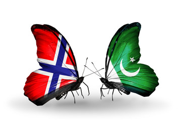 Two butterflies with flags Norway and Pakistan