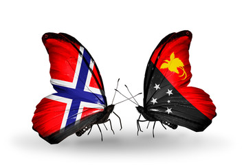 Two butterflies with flags Norway and Papua New Guinea