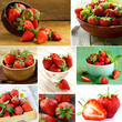 collage of ripe juicy organic berries strawberry