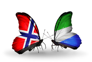 Two butterflies with flags Norway and Sierra Leone