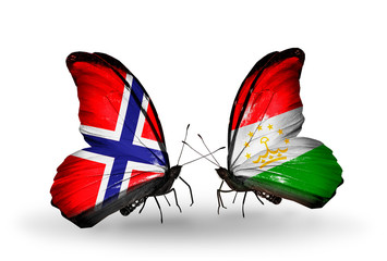 Two butterflies with flags Norway and  Tajikistan