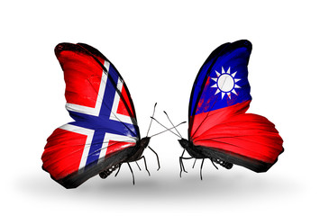 Two butterflies with flags Norway and Taiwan