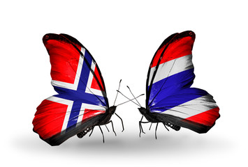 Two butterflies with flags Norway and Thailand