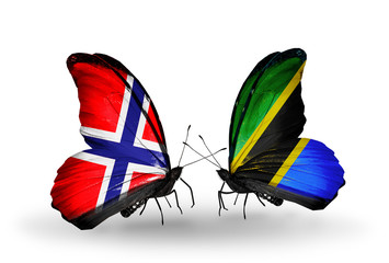 Two butterflies with flags Norway and Tanzania