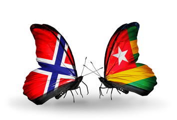 Two butterflies with flags Norway and Togo