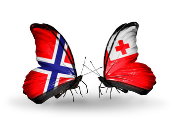 Two butterflies with flags Norway and Tonga