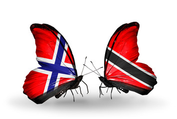Two butterflies with flags Norway and Trinidad and Tobago