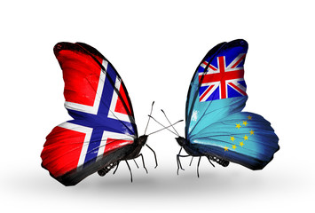Two butterflies with flags Norway and Tuvalu